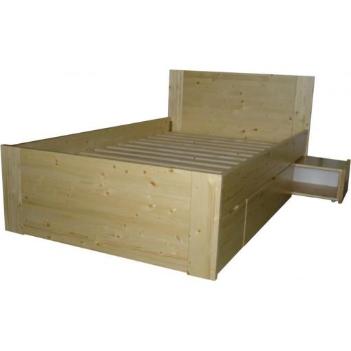 Jednolůžková postel se zásuvkami a nočním stolkem