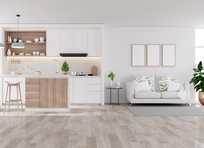 kvalitní bílá kuchyňská linka se dřevem