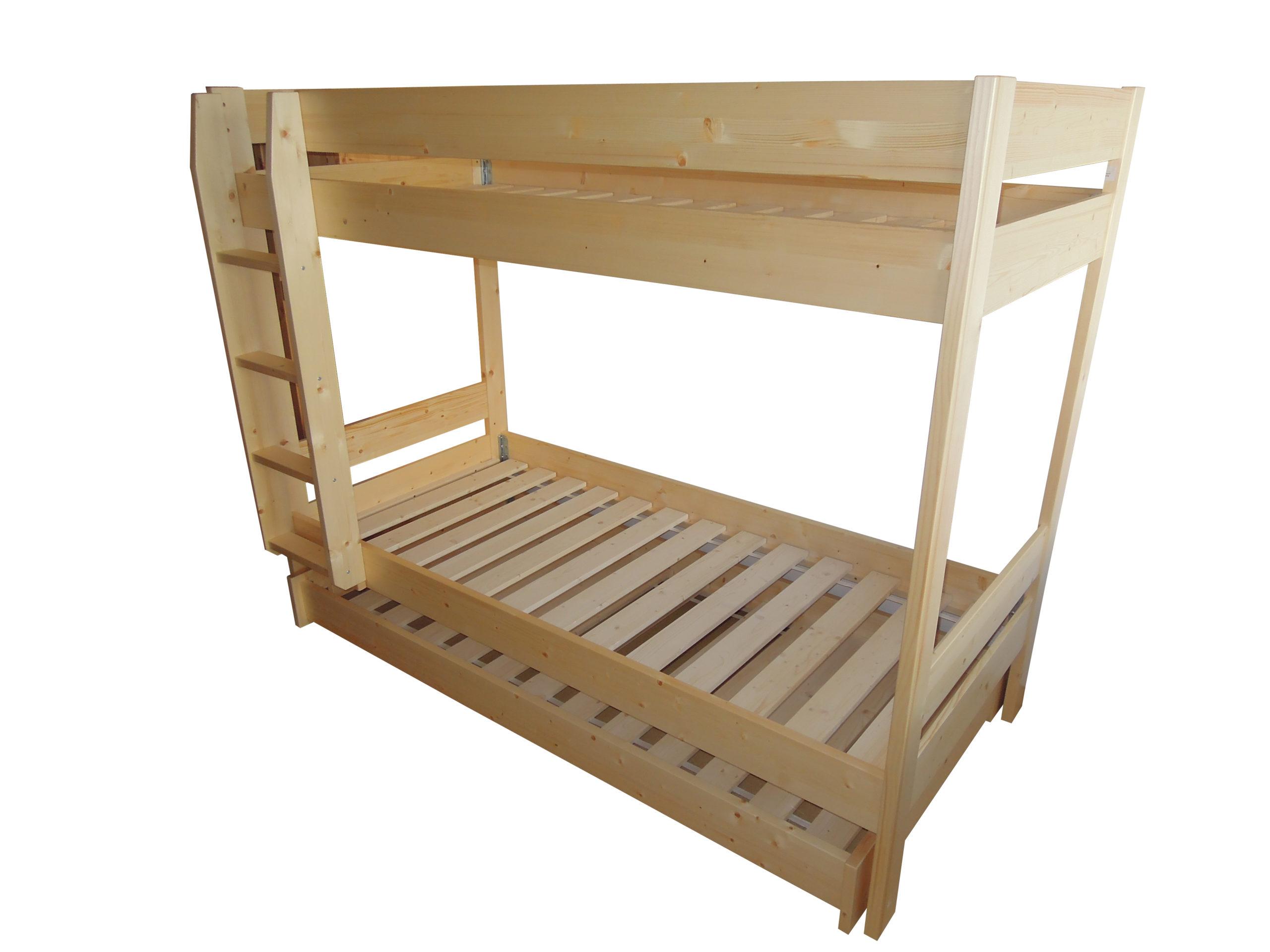 Patrová postel rovná moderní masiv s přistýlkou